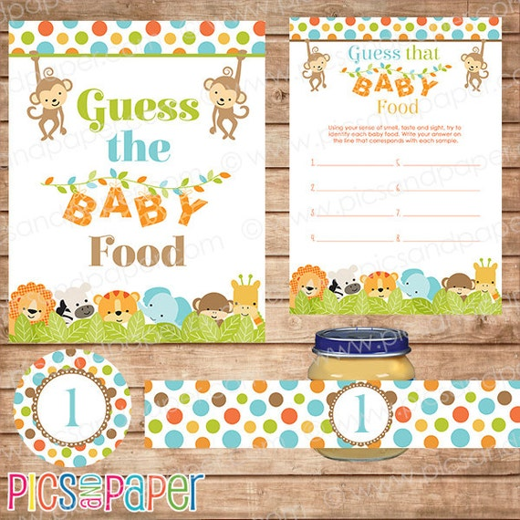 Safari guess the baby food game printable instant download for Food bar games free online