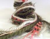 Art Yarn Fiber Bundle, forest green, cream, coral, 12 yards, specialty yarn, novelty yarn, SALE
