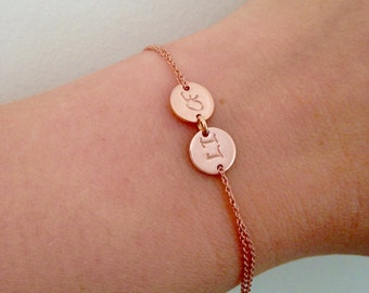Rose gold two disc personalised bracelet, initial bracelet, monogram, pink gold, children, mother, bridal, wedding jewelry, gift, bridesmaid
