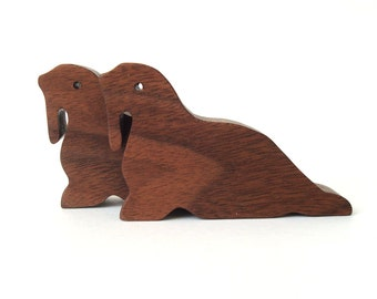 Wood Toy Walrus Wooden Waldorf  Miniature Noah's Ark Animals Zoo Ocean Play Set Hand Cut Scroll Saw