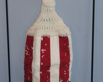 Crochet double American Flag kitchen dish towel