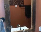 Rustic mirror Reclaimed barn wood. rustic  framed mirror 1892 barn  wood FREE SHIPPING-rustic-home decor