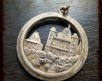 Vintage large French Castle Silver Medal - relief Jewelry pendant from France