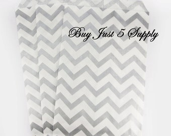 100 Bulk Chevron Silver Gray and White Paper Gift Bags - Just 5 Bucks - For Candies, Soaps, Jewelry, Pendants, Shower Favors, Wedding Favors