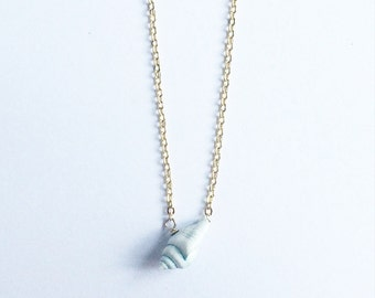 Little Shell Necklace - real pale blue shell and gold plated brass chain
