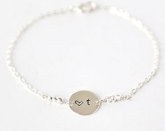 Custom Sterling Initial with Heart Bracelet // simple everyday delicate bridesmaid // Mother Daughter // Best Friend Jewelry
