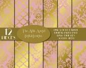 SALE - Pink and Gold Foil Digital Paper, Pink Damask, Blush and Gold Quatrefoil, Bridal Shower Paper, Commercial Use CU, Instant Download