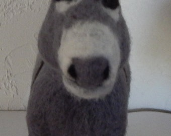Donkey needle felted sculpture
