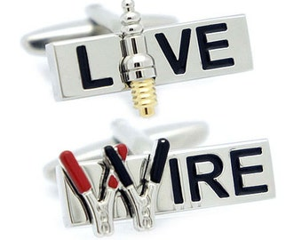 Live Wire / Jumper cable & Spark plug Cufflinks