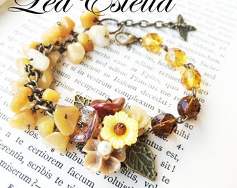 Caramel Brown Mustard Yellow Toasty Warm Summer Floral Garden Bumblebee Bracelet - Manuka Honey