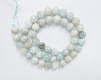 7.5mm  aquamarine round gemstone beads, Gorgeous quality FULL STRAND (16 inches)