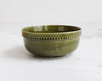 Vintage Green Fruit Bowl - Large Poland Polish Decor Pottery Display Serving