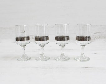 Vintage Drinking Glasses - Triangle Serving Bar ware Glassware silver rim Grey Display Small Shot Blown geometric flower.