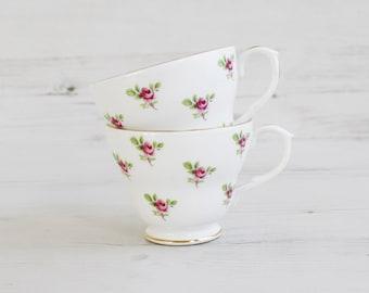 Vintage Duchess Teacup Pair - Bone China Rose Bud Pink Flower Afternoon Tea Cake Serving Drink Cup