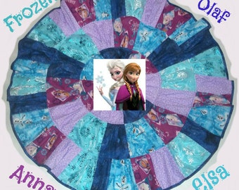 "Frozen Anna Elsa Olaf Inspired Patchwork Twirl Skirt Custom size up to 27"" long"