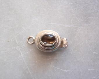 Sterling Silver Box Clasp Oval Shape No Trim Smoky Quartz Qty. 1