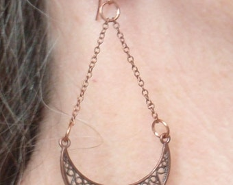Onyx Copper Earrings Pierced Dangle Gypsy Style Long Shoulder Dusters Hand Made