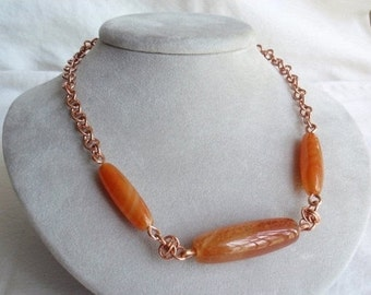 Raw Copper Agate Necklace Chain Maille Hand Made