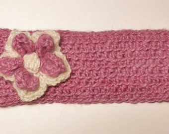 Alpaca Headband/Ear Warmer - Lavender With a White and Lavender Flower - ADULT Size -Crocheted (#239)