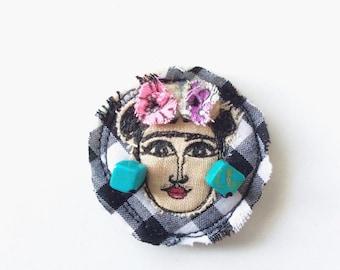 Frida Kahlo sewn brooch