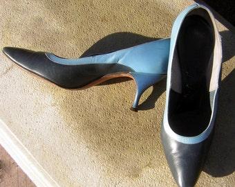 De Liso Debs 3 tone Blue High Heels - Vintage 50s 60s - US Womens 7 1/2 M  Euro 38 - Palter De Liso
