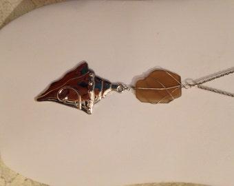 SEA GLASS NECKLACE with Silver Tone Sea Shell Pendant 4-1/2 inches - Taupe Colored Glass - Unique