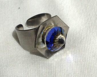 Vintage 1970s Blue Austrian Crystal Brushed Steel Ring