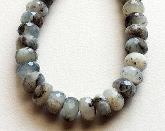Dendrite Rondelle/ Faceted Rondelle Beads/ White & Black Gemstone Beads/ 8.25 - 8.5mm Faceted Beads/ 8 Inch Full Strand