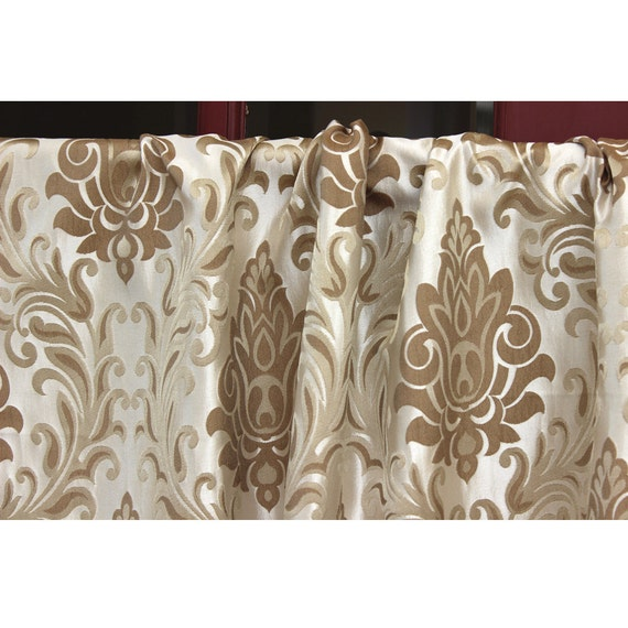 Beige damask love grommet unlined curtain in textured jacquard for Beige damask curtains