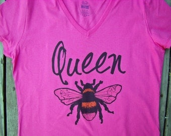 Queen Bee Shirt, tops and tees - Ladies V neck, Super cute Queen gift, custom printed