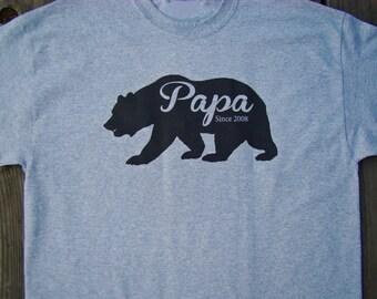 Papa Bear shirt, Papa Bear Father's day Gift for Dad, New Dad, Grandpa, Papa Custom printed Papa bear with year for Dad