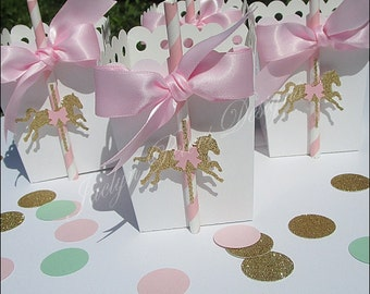 Pink And Gold Carousel Party Popcorn Favor Box, Girl Baby Shower, First Birthday Party, Dessert Bar Decor, Pink Bow, Glitter Pony, Set Of 12