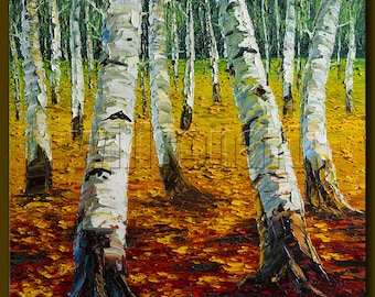 Birch Tree Forest Autumn Landscape Painting Oil on Canvas Textured Palette Knife Modern Original Art Seasons 24X24 by Willson Lau
