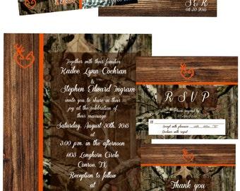 Classic Mossy Oak Wedding Invitation -Orange Trim