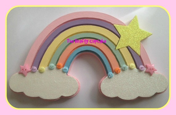 Free Standing Mdf Rainbow with Star in Pastel Shades Wooden