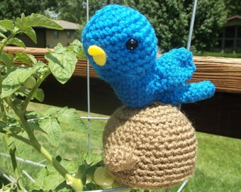Amigurumi Blue Bird of Happiness Sitting on Stump