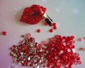 Kawaii girly metal lip and lipstick kit Red or Pink # 490---USA seller