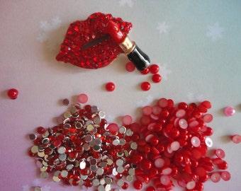 Kawaii girly metal lip and lipstick kit # 490---USA seller