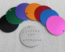 "10 Extra Large Brushed Aluminum Round Blanks Discs Tags Circles 1.5"""