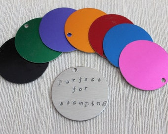 100 Extra Large Brushed Aluminum Round Blanks Discs Tags Circles 1.5""