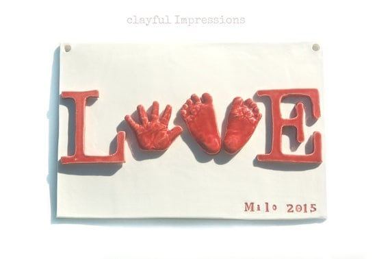 Thebabyhandprintco baby hand and footprint keepsake plaque love baby hand and footprint keepsake plaque love wall decor for newborn 6 months negle Gallery