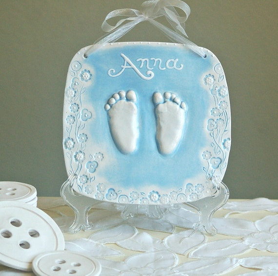 Ceramic Hand & Footprint Plaque  - Baby and Child's Gift  - Personalized Keepsake Gift - Ceramic Baby Prints - Personalized Baby Gift - Baby