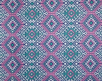 Teal and Dusty Pink Ethnic Design Pure Cotton Voile Fabric--One Yard