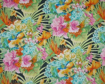Colorful Tropical Bouquet Print Pure Cotton Fabric-One Yard