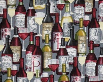 Packed Wine Bottles on Gray Print Pure Cotton Fabric--One Yard