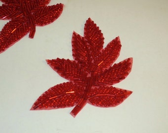 Bright Red Leaf Design Beaded Applique--One Piece