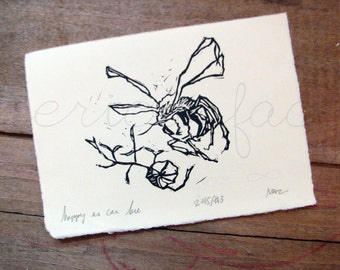 Happy As Can Bee - Original Art - Hand Pressed Linoleum Cut Art Print