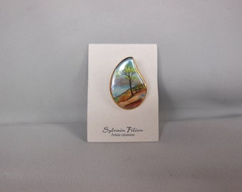 Brooch Pin Sylvain Filion Landscape Hand crafted Painted Ceramic& 22 carat
