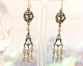 Vintage VICTORIAN Angel PEARL Strand Drop CHANDELIER earrings