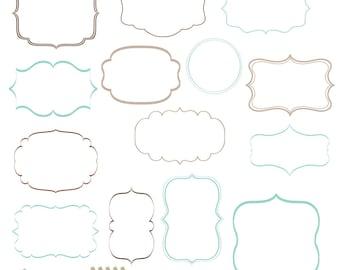 Digital Frames Clip Art Transparent Middle Commercial Use 14 Border DIY Invitation Calligraphy Clipart - Charlie
